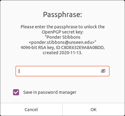 GPG Key Passphrase Prompt